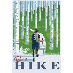 """""""Take a Hike"""" Artist Signed Poster ($60) ❤ liked on Polyvore featuring home, home decor, wall art, outer space wall art, planet posters, southern home decor, solar system poster and graphic illustration"""