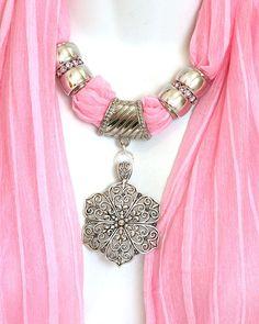 Pendant Scarves Jewelry Pastel Pink by RavensNestScarfJewel, $25.00
