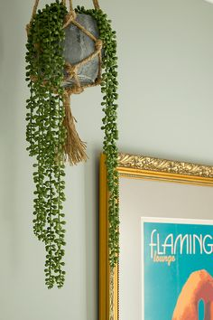 Hallway and Landing Decor Ideas | String of Pearls | Macrame Hanging Basket | Artificial Plants | Flamingo Picture | Gold Frame | Interior Design | Home Decor