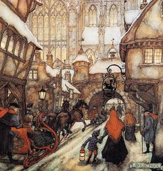 Anton Pieck - A snowy winter town in somewhere like England or U.K.... Very Pretty ~ 노무 ye-po-yo!!
