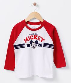 Camiseta infantil  Manga longa raglan  Gola redonda  Com estampa  Marca: Mickey  Tecido: Meia malha  Composição: 100% algodão     COLEÇÃO INVERNO 2016