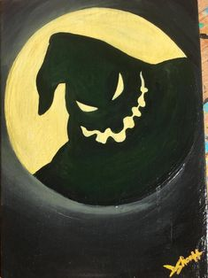 Oogie Boogie Nightmare Before Christmas Inspired Acrylic Painting on Canvas Panel - halloween art - halloween art drawing - halloween art painting Halloween Canvas Paintings, Cute Canvas Paintings, Halloween Painting, Halloween Art, Acrylic Painting Canvas, Vintage Halloween, Halloween Things To Draw, Easy Halloween Drawings, Witch Painting