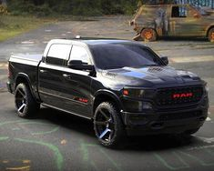 Im not normally a fan of black trucks but this pic is going straight on my dream wall! It won the race before it even started. Dodge Trucks Lifted, Lowered Trucks, Ram Trucks, Cool Trucks, Lifted Chevy, Diesel Trucks, Custom Pickup Trucks, Classic Pickup Trucks, Dodge Ram Crew Cab