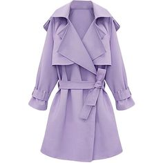 Womens Plus Size Turndown Collar Slimming Trench Coat Purple ($60) ❤ liked on Polyvore featuring outerwear, coats, jackets, purple, slim trench coat, purple coat, trench coat, slim coat and slim fit coat