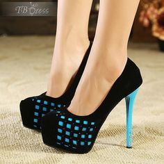 Charming Light Blue Howllow-out Squares Platform Women's Heels Prom Shoes