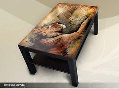 Modern Tisch Couchtisch Glastisch Beistelltisch Sofatisch Ägypten Löwe 90x55 cm