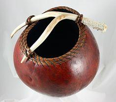 antler and pine needle gourd art | 1183, pine needles, antler