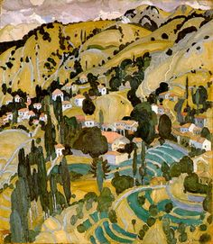 Spyros Papaloukas The village Kammeno Greece Painting, Mediterranean Art, Hellenistic Period, Painter Artist, Greek Art, Classical Art, Autumn Art, Conceptual Art, Aesthetic Art