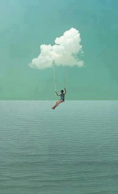 suspended in the clouds - cloud swing photomontage Photomontage, Jolie Photo, Art Plastique, Pretty Pictures, Feeling Pictures, Collage Art, Collages, Soul Collage, Art Photography