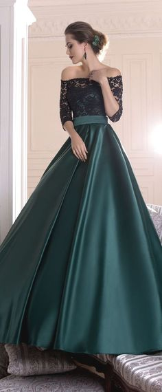 Graceful Lace & Satin Off-the-shoulder Neckline A-line Evening Dresses With Pleats