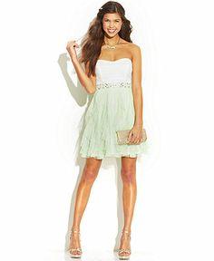 17a4ab08438 Teeze Me Juniors  Strapless Ruffled Colorblock Dress   Reviews - Dresses -  Juniors - Macy s. Prom ...
