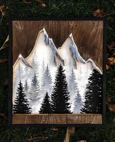 This piece is made on reclaimed wood. Featuring a mountain cutout with a beautiful acrylic painting to bring it back to life. Measures at 16x18 This piece is made to order. Each made to order piece will take 1-2 weeks prior to shipping.