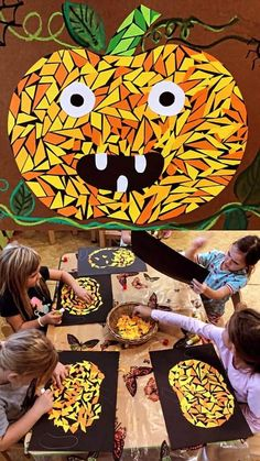 Autumn Crafts, Fall Crafts For Kids, Thanksgiving Crafts, Holiday Crafts, Art For Kids, Halloween Art Projects, Halloween Arts And Crafts, Halloween Activities, Kindergarten Art Projects