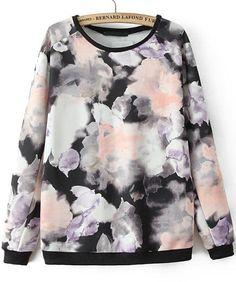 Shop Black Long Sleeve Ink Floral Loose Sweatshirt online. Sheinside offers Black Long Sleeve Ink Floral Loose Sweatshirt & more to fit your fashionable needs. Free Shipping Worldwide!