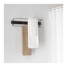 IKEA - HJÄLMAREN, Towel rail, double, black-brown stain,