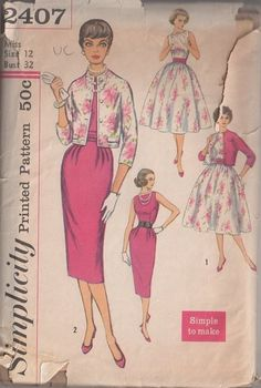 MOMSPatterns Vintage Sewing Patterns - Simplicity 2407 Vintage 50's Sewing Pattern SIZZLING HOT Rockabilly Curve Hugging Mad Men Sheath Cocktail Party Dress, Full Pleated Skirt Gala Gown, Snazzy Lined Matching Jacket