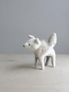 arctic fox / soft sculpture animal by ohalbatross