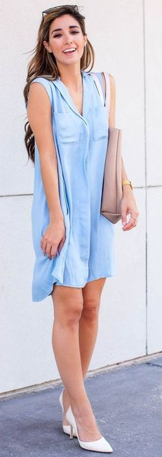 #street #style #spring #2016 #it-girl #outfitideas  Light Blue Dress + White Pumps  The Darling Detail