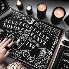 I like black and white for Ouija board coffee table. And to reuse genuine vintage spirit board, the Haunted Bookshop in CBD sells them but they pricey (couple of hundreds of dollars upwards) but they legit wooden vintage spirit boards Casa Rock, Images Esthétiques, Witch Aesthetic, Book Of Shadows, Black Magic, Wiccan, Wicca Witchcraft, Paranormal, Boards