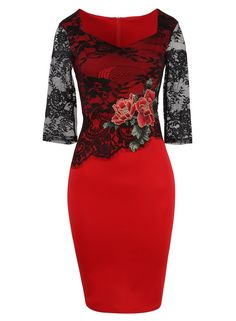 Lace Embroidery See Through Floral 3 Quarter Sleeve Bodycon Dress - Uniqistic.com