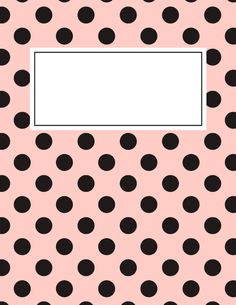 Free printable pink and black polka dot binder cover template. JPG and PDF versions available. Binder Cover Templates, Cute Binder Covers, School Binder Covers, Printable Planner, Planner Stickers, Free Printables, Notebook Cover Design, Notebook Covers, Diy School Supplies