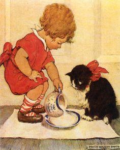 Feeding Kitty Vintage Artwork