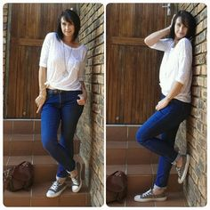 Skinny jeans, converse sneakers, white