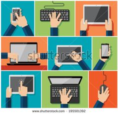Vector set of flat hand icons holding various hi-tech computer and communication devices - stock vector