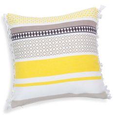 Funda de cojín con franjas de algodón amarillo/gris 40×40 cm PORTO | Maisons du Monde