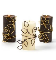 Wire Wrapped Candles Skill Level:No experience necessary Beeswax Candles, Diy Candles, Sister Crafts, Wire Ornaments, Wiccan Crafts, Mood Light, Metal Projects, Wire Crafts, Wire Art