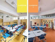 madrid-based daniel valle architects completes its latest renovation project for the first and second grade classrooms of DSSI elementary school in seoul. A Classroom, Classroom Design, The New School, School S, Branding, Design Furniture, Common Area, Kid Spaces, Second Grade