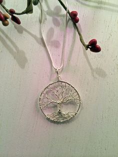 Unisex Sterling Silver Tree Of Life Necklace On Sterling Chain Wire Wrapped Pendant Unisex Jewelry