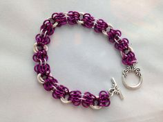 Amethyst and Silver Chainmaille Bracelet by MetallicStitches, $25.00