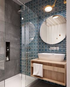 Mais uma vez a perfeita combinação de ladrilhos hidráulicos e concreto aparente no banheiro dando uma leitura moderna e urbana a um espaço que tanto usamos e por vezes damos pouca importância. O espelho redondo contrasta com as linhas retas do restante do projeto. Destaque final para a luminária amarela que traz mais um ponto de cor ao projeto.  #querojadecorar #architecture #arquitetuta #decor #decoração #decoraçãodeinteriores #decorate #decorating #decoration #design #designdeinteriores…