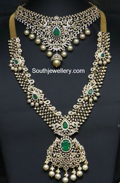 Bridal Diamond Choker and Haram set photo Diamond Necklace Set, Diamond Bracelets, Diamond Jewellery, Tanishq Jewellery, Emerald Jewelry, Opal Jewelry, Indian Jewellery Design, Indian Jewelry, Real Gold Jewelry