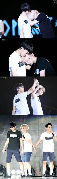 OH MY GOODNESS THE HEAD KISS   SO FREAKING ADORABLE! ♥ #Chen #Baekhyun #Chanyeol