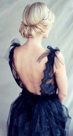 gorgeous :: Black lace evening dress open back dress by CarouselFashion Lace Evening Dresses, Wedding Dresses, Lace Dress, Tulle Dress, Wedding Hair, Tulle Bows, Wedding Bride, Bridesmaid Dresses, Look Fashion