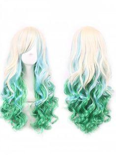 Mapofbeauty Beau Long Ondulé Harajuku style cosplay perruque bleu clair//light