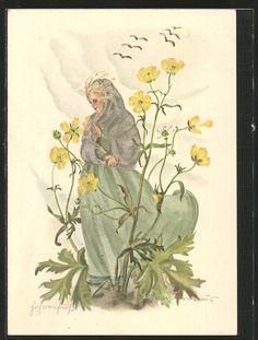 Künstler-AK Schwarz-Torino: Hahnenfuss, Elfe zwischen den Blumenblüten 0