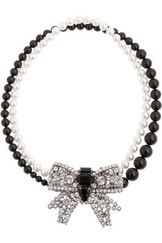Miu Miu Crystal bow glass pearl necklace