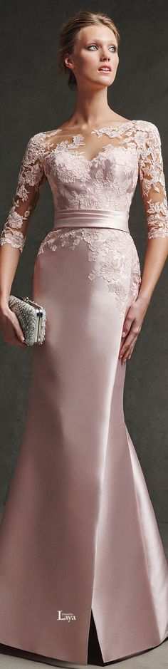 Pronovias 2016 EVENING Dresses - the softest of pink and beautiful lace