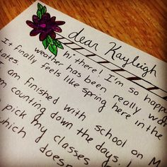A letter to one of my pen pals named Kayleigh.