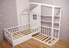 Monstessory L-Shape wooden house bed with drawers and shelves  DESCRIPTION  ★ Order Include: bed with slats, finish by choice. house-bed with drawers, mattress slats, assembly tools, instruction  ★ Material: beds are made from high quality solid pine wood; well-dried bars, without rotten knots and