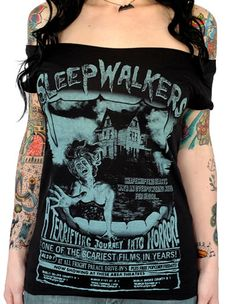Sleepwalkers Off-the-Shoulder Tee Serpentine Clothing Goth Horror Punk Psychobilly Zombie Clothing Skirts Halloween Costumes Scary Films, Off The Shoulder Tee, Inked Shop, Rock T Shirts, Psychobilly, My T Shirt, Cool Tees, Cool Outfits, La Mode