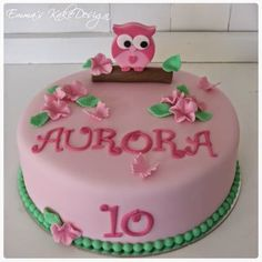 Emmas KakeDesign: Søt Rosa Uglekake!