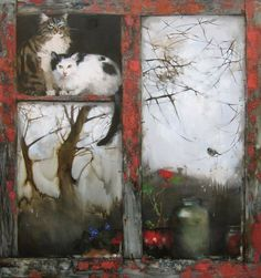 Maria Chepeleva,Russian,is a contemporary artist whose paintings adeptly depict the illusiveness of the feline in a romantic and impressionistic style. Art And Illustration, Cat Drawing, Painting & Drawing, Sweet Cat, Gatos Cat, Cat Window, Tier Fotos, Russian Art, Cat Art