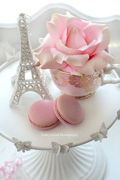 Shabby Chic Paris print by Kathy Fornal (frame NOT included) Title: Pink White Roses Eiffel Tower and Macarons Sizes: or Set of 3 Note Cards {Choose print size from the menu on right} Canvas prints available on Custom Order request.