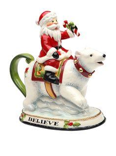 Cosmos Santa Riding Polar Bear 12-Oz. Teapot at MYHABIT