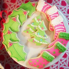 Christmas pink and green cookies