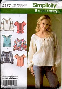 Simplicity 4177 Misses Tops Pattern Pullover Peasant Tops Drawstring Scoop Neck Blouse Bishop Sleeves Womens Sewing Pattern Bust 31.5 - 38